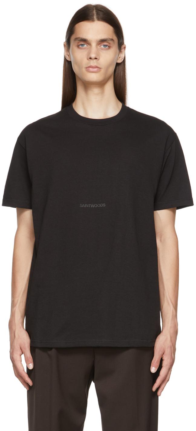 Photo: Saintwoods SSENSE Exclusive Black Logo T-Shirt