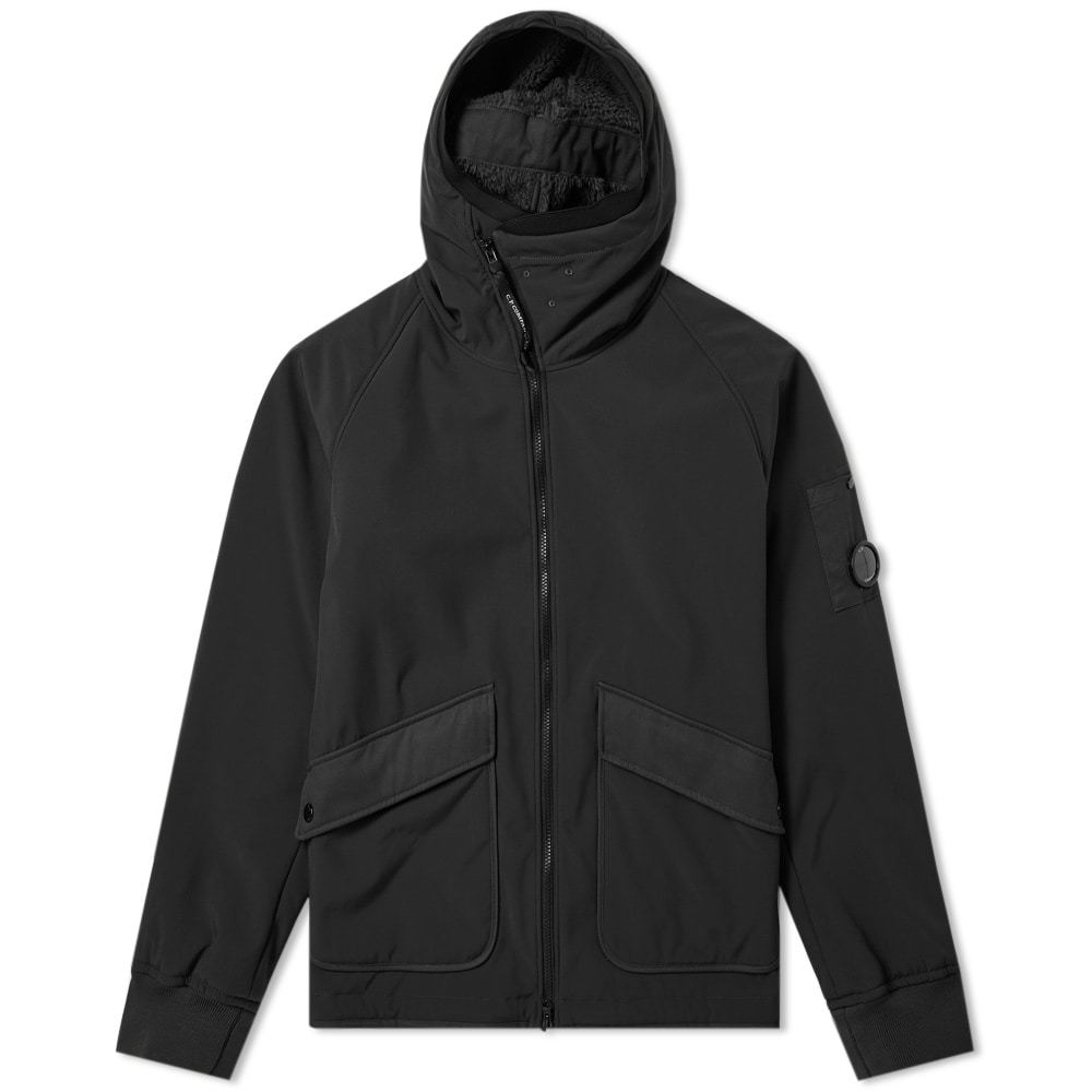 C.P. Company Arm Lens Fleece Lined Hooded Jacket Black