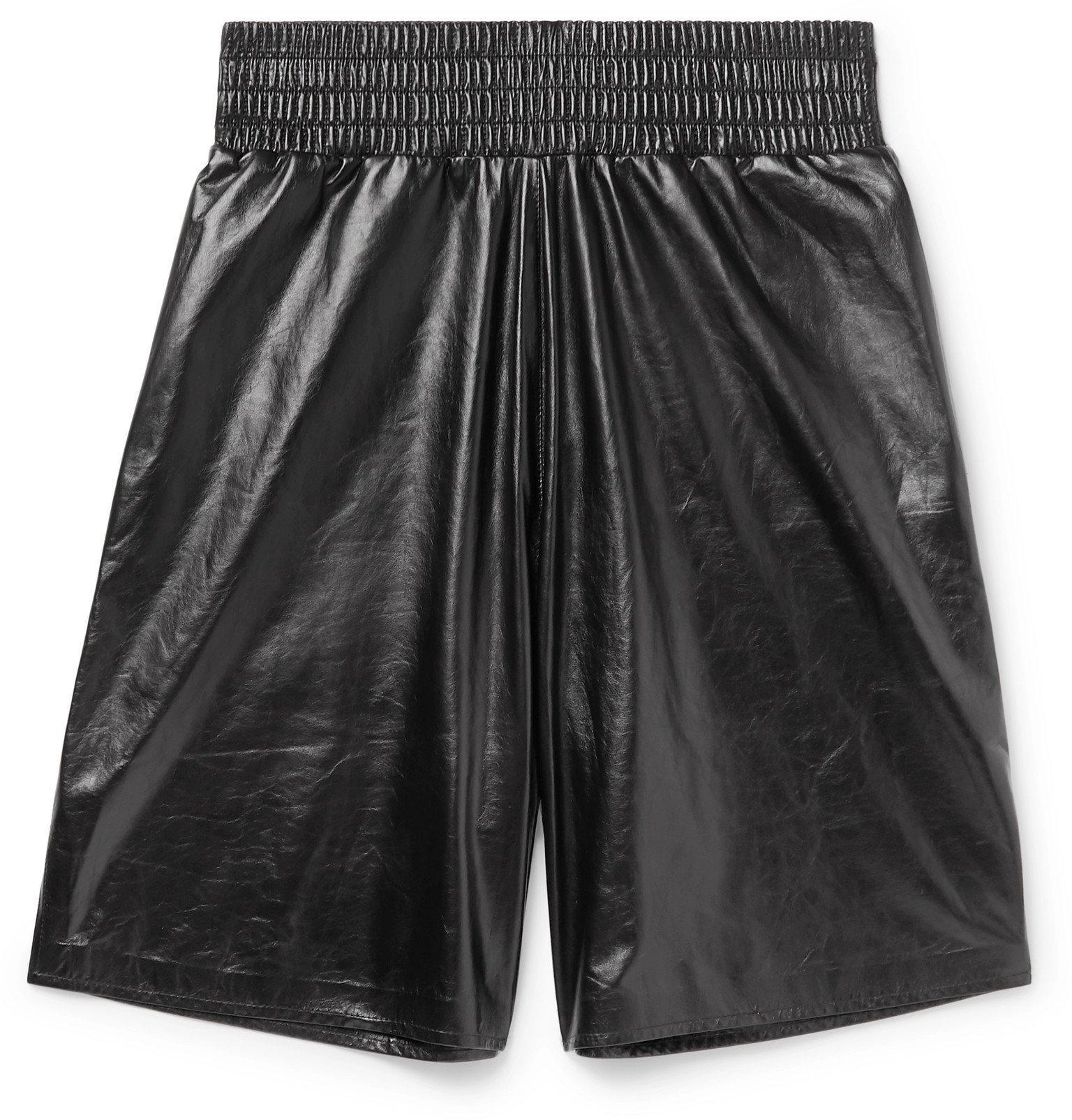 Photo: Bottega Veneta - Wide-Leg Leather Bermuda Shorts - Black