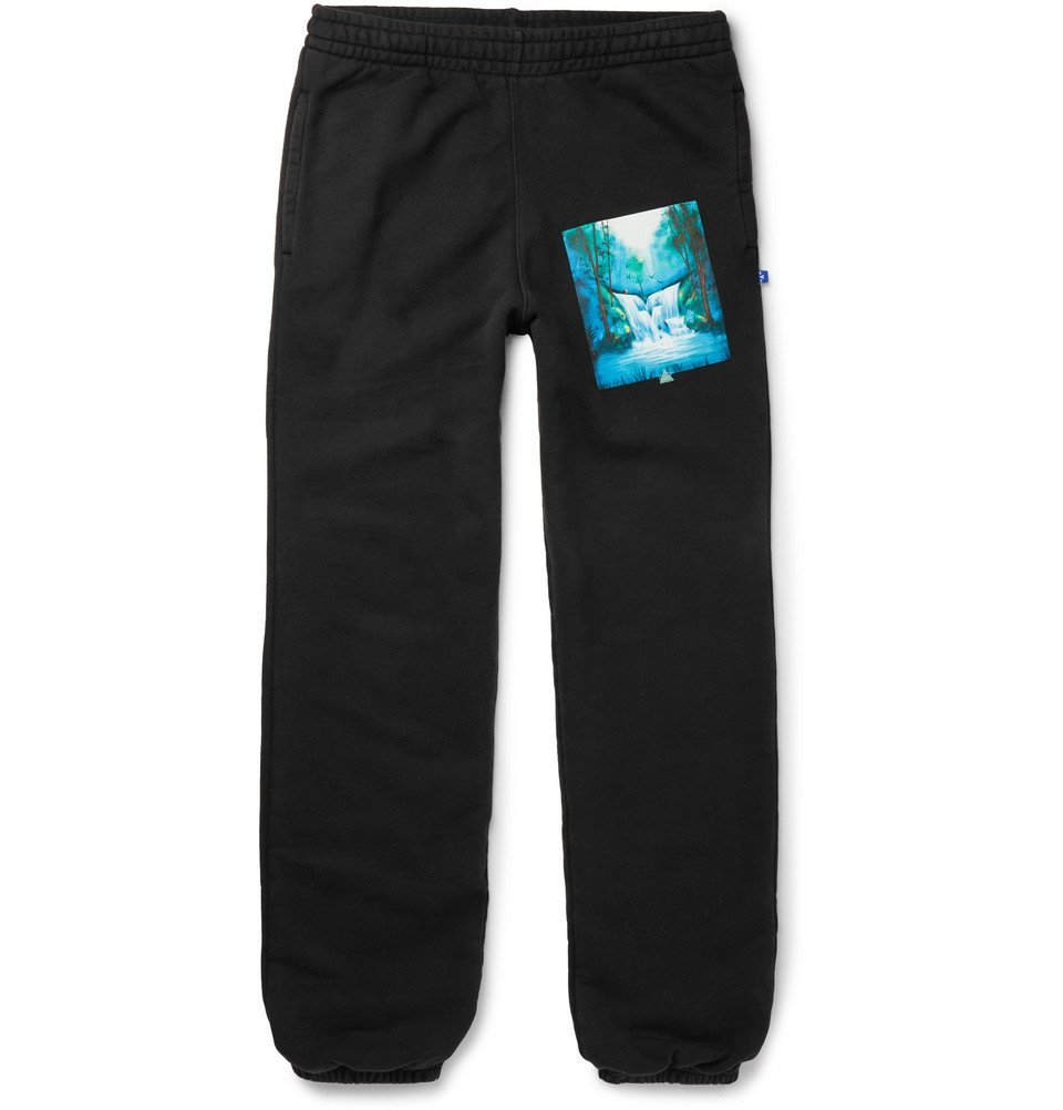 Photo: Off-White - Slim-Fit Printed Loopback Cotton-Jersey Sweatpants - Black