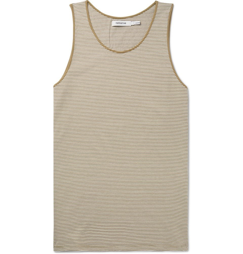 Photo: nonnative - Dweller Striped Cotton-Jersey Tank Top - Beige