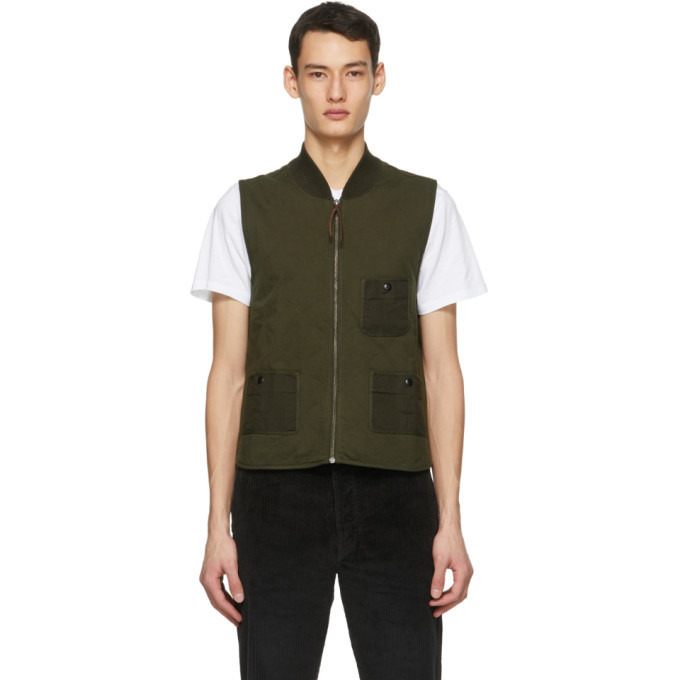 Photo: RRL Khaki Jersey Quilted Vest