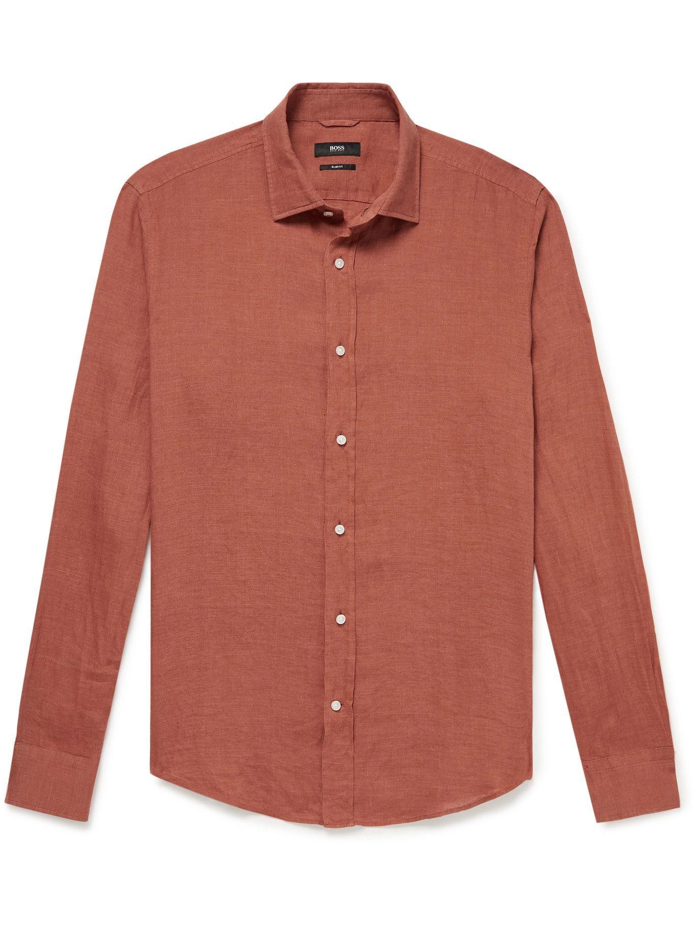 HUGO BOSS - Joy Linen Shirt - Brown