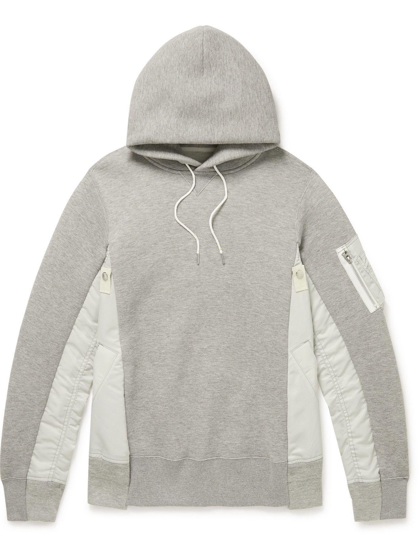 Photo: Sacai - Nylon-Trimmed Cotton-Blend Jersey Hoodie - Gray