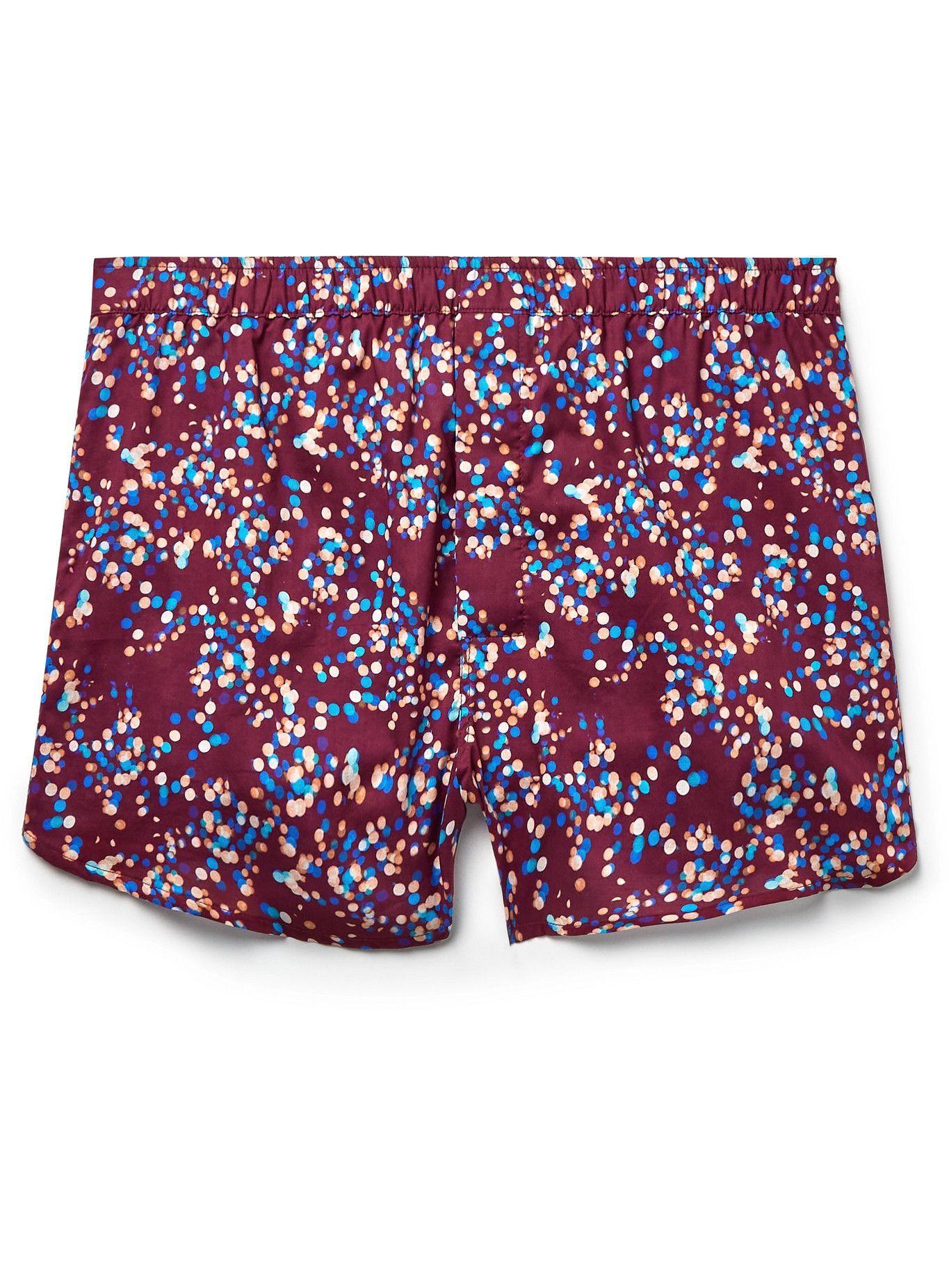 Photo: Derek Rose - Ledbury 45 Printed Cotton Boxer Shorts - Red