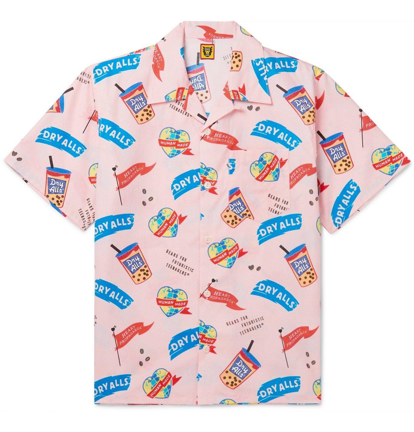 Photo: Human Made - Camp-Collar Printed Cotton-Poplin Shirt - Pink