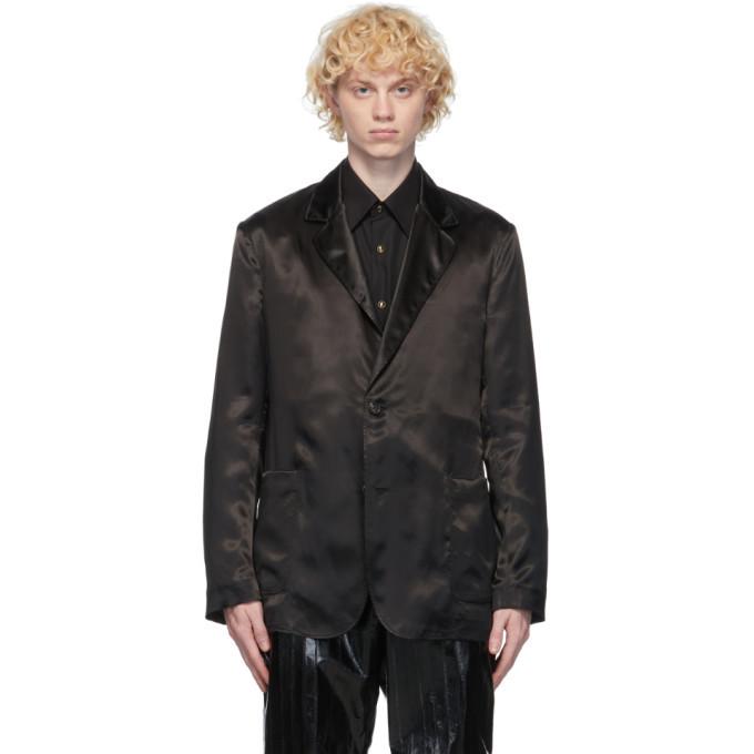 Dunhill Black Satin Wrap Blazer