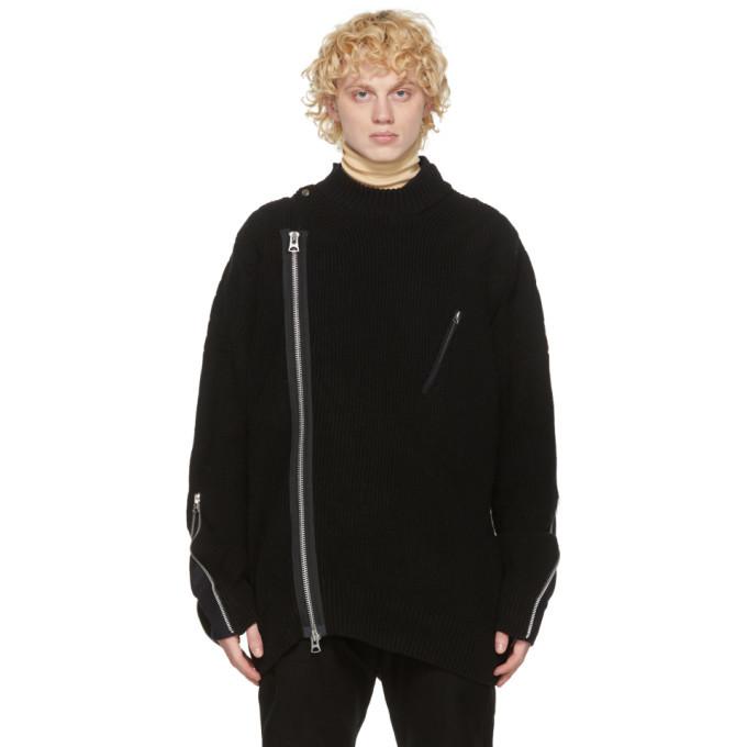 Sacai Black Wool Rib Knit Sweater