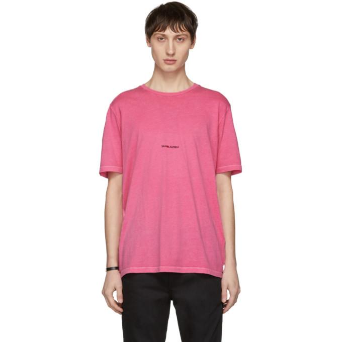 Photo: Saint Laurent Pink Rive Gauche Logo T-Shirt