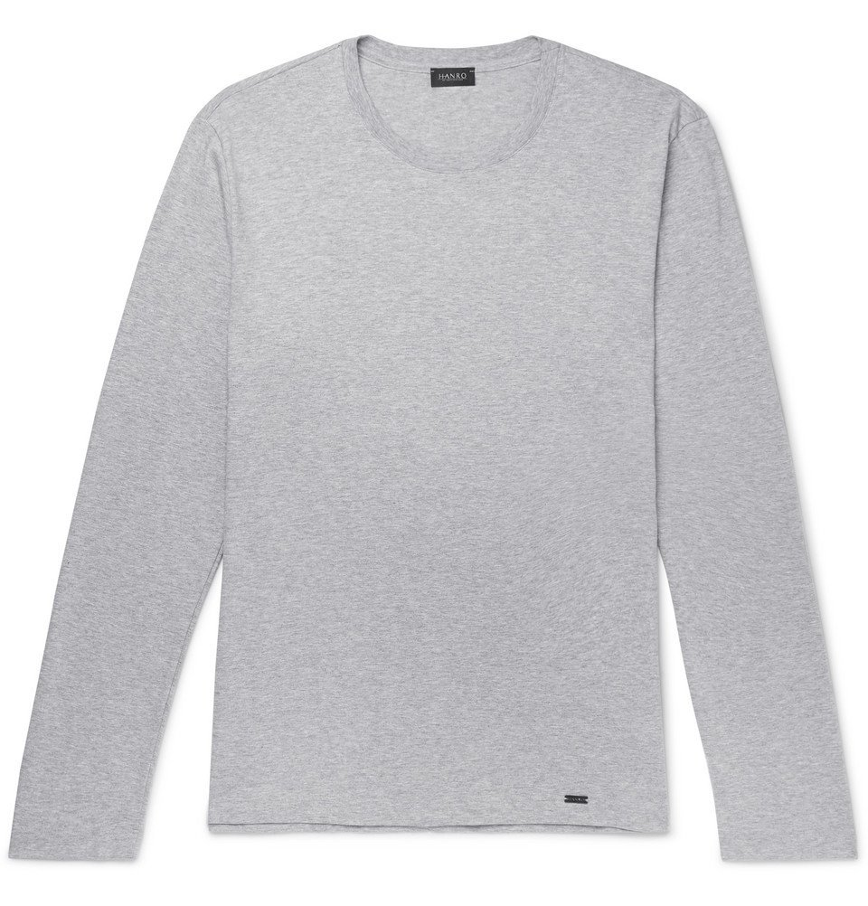 Hanro - Mélange Cotton-Jersey T-Shirt - Light gray