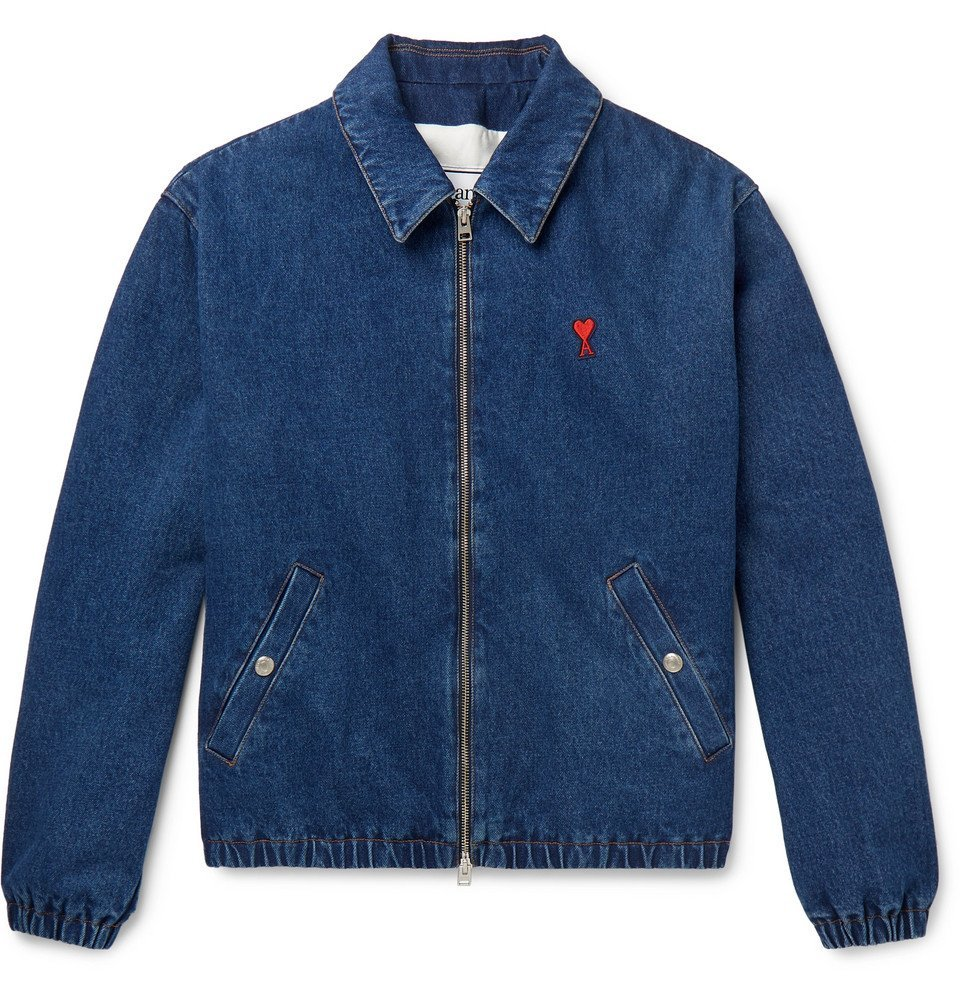 Photo: AMI - Logo-Appliquéd Denim Blouson Jacket - Blue