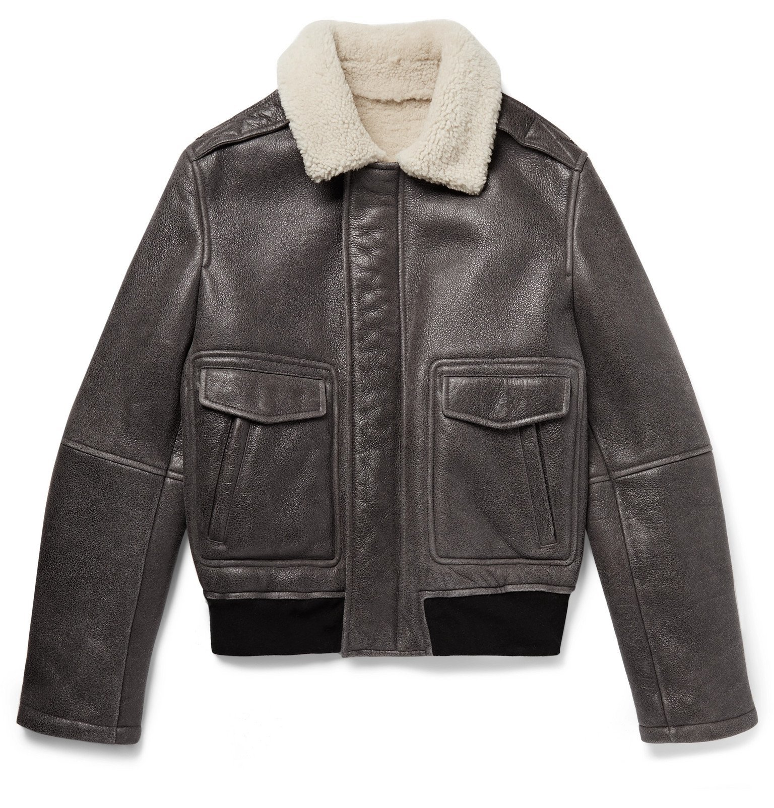 Photo: Yves Salomon - Shearling Bomber Jacket - Gray
