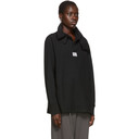 Raf Simons Black Loose Hanging Collar Rugby Pullover
