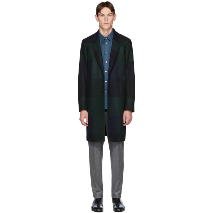 Photo: PS by Paul Smith Navy and Green Check Two-Button Epsom Coat