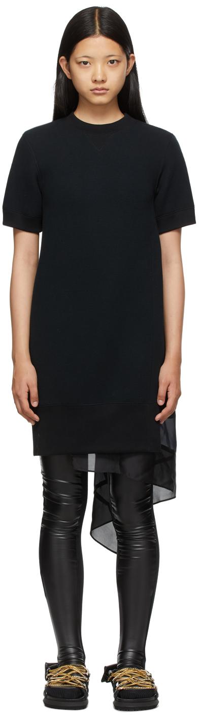 Sacai Black Chiffon & Sponge Sweat Mix Dress