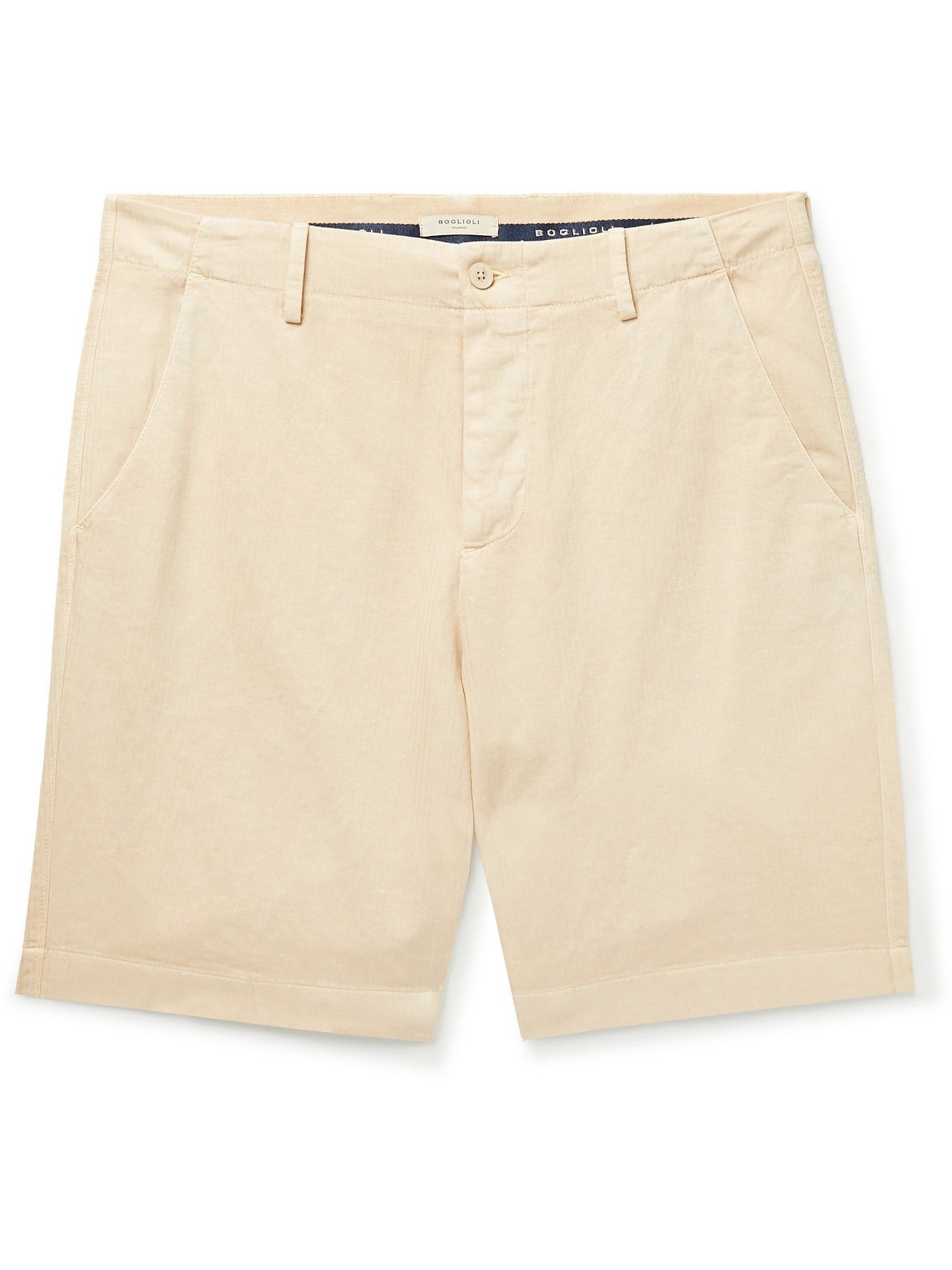 Photo: BOGLIOLI - Herringbone Cotton and Linen-Blend Shorts - Neutrals