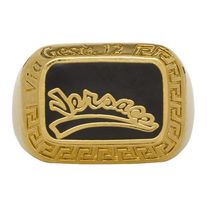 Photo: Versace Gold and Black Varsity Ring