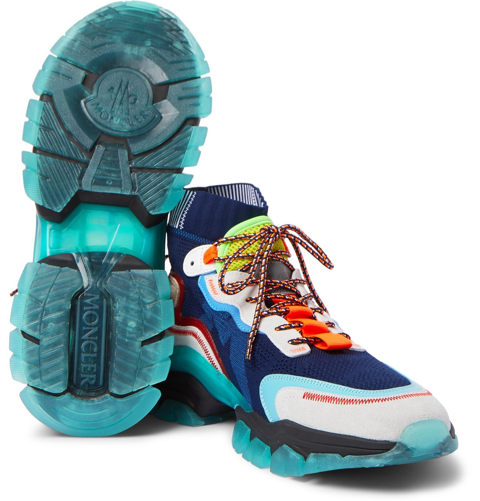 Moncler - Leave No Trace Leather, Suede and Mesh Sneakers - Blue