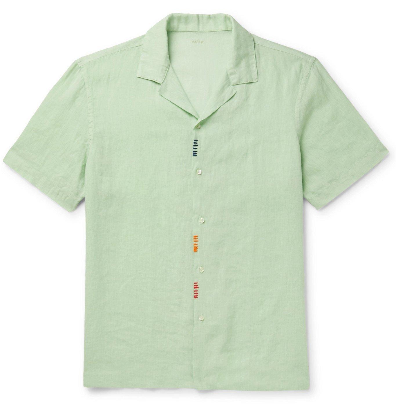 Photo: Altea - Camp-Collar Embroidered Linen Shirt - Green