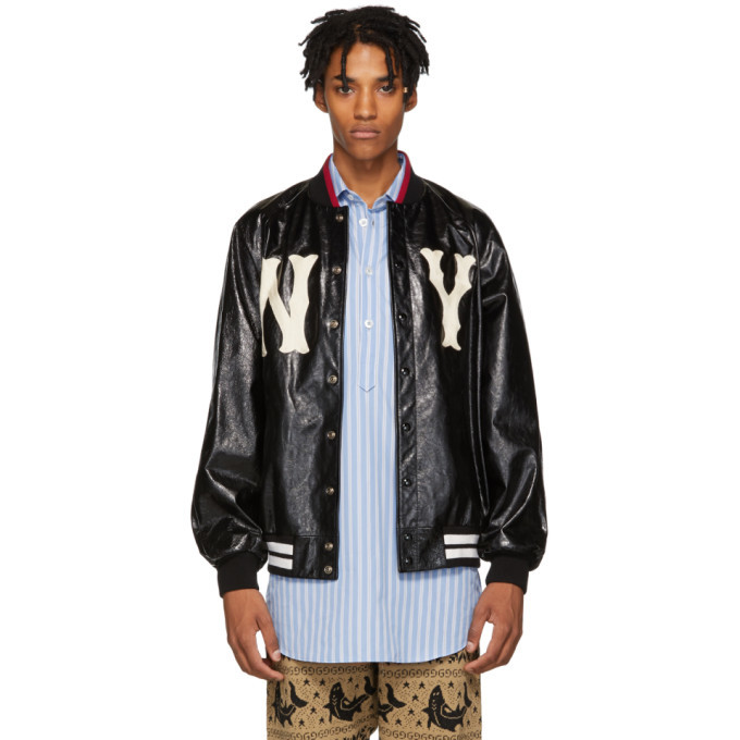 Photo: Gucci Black NY Yankees Edition Leather Bomber
