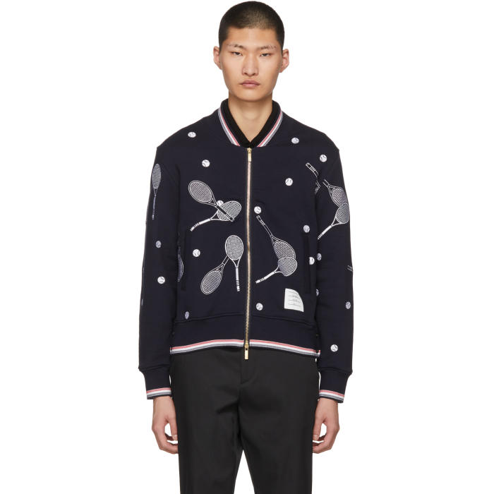 Photo: Thom Browne Navy Racket Zip-Up Bomber Sweater