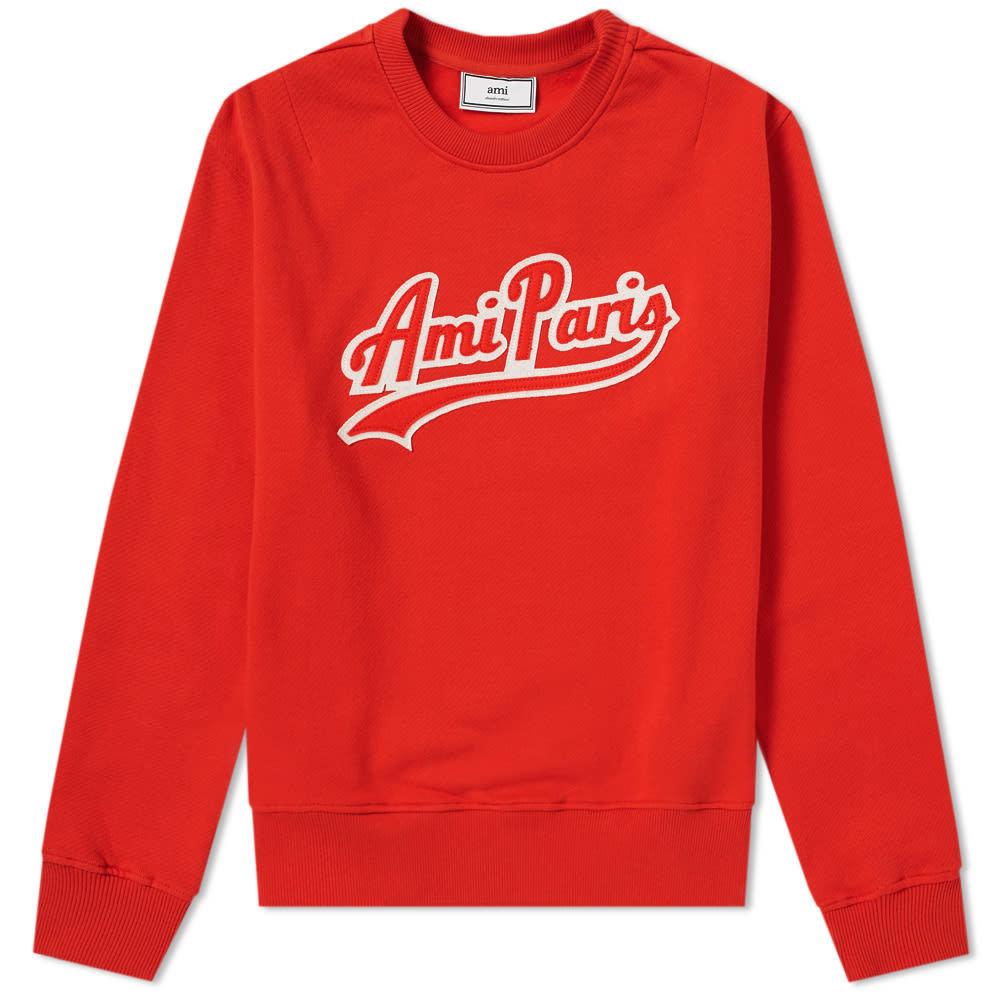 Photo: AMI Collegiate Patch Logo Sweat Red