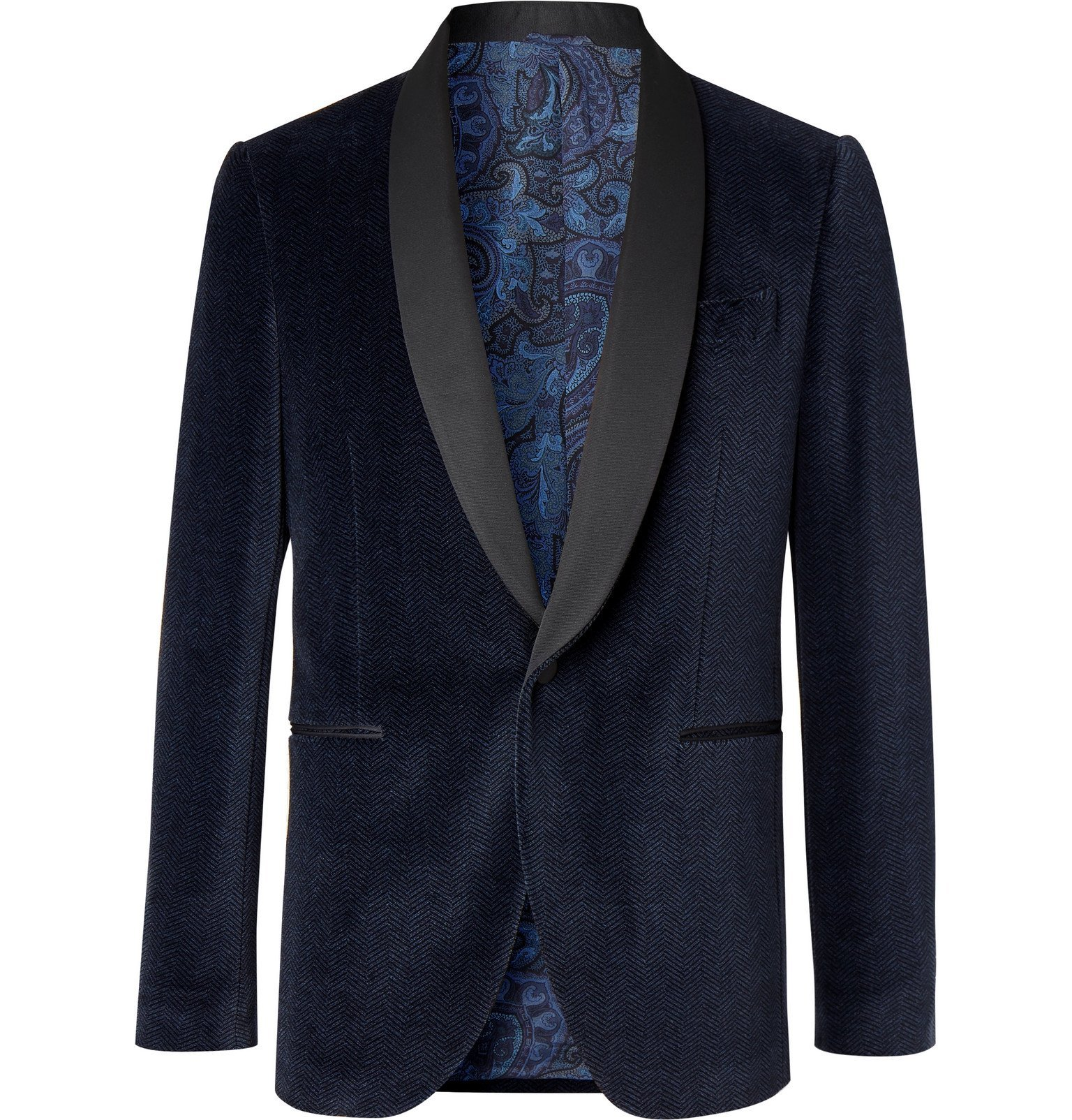 Photo: Etro - Navy Slim-Fit Satin-Trimmed Herringbone Cotton-Blend Velvet Tuxedo Jacket - Blue