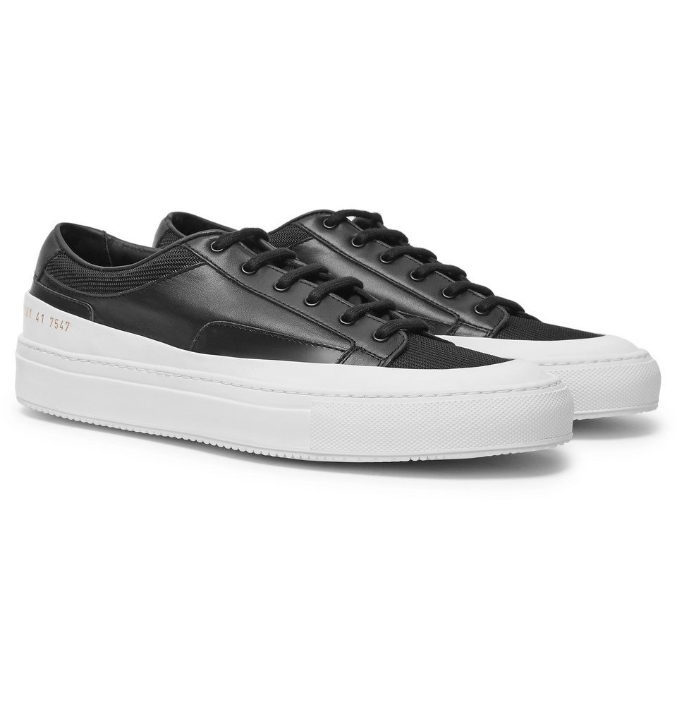 Common Projects - Achilles Super Mesh-Trimmed Leather Sneakers - Men - Black