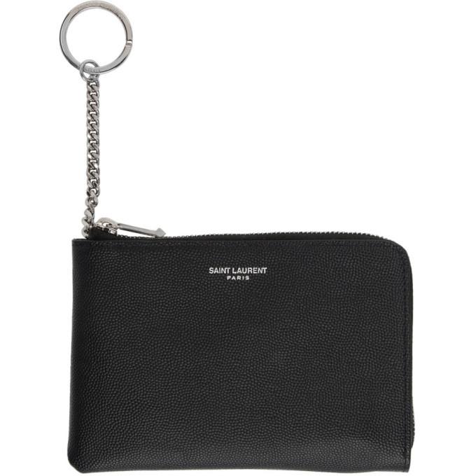 Photo: Saint Laurent Black Logo Pouch Keychain