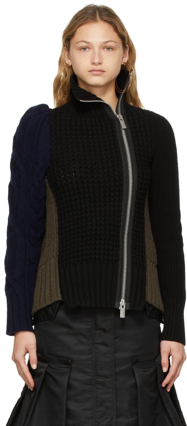 Photo: Sacai Black & Khaki Wool Knit Zip-Up Sweater