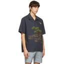 Dunhill Navy Spring Swallows Short Sleeve Shirt