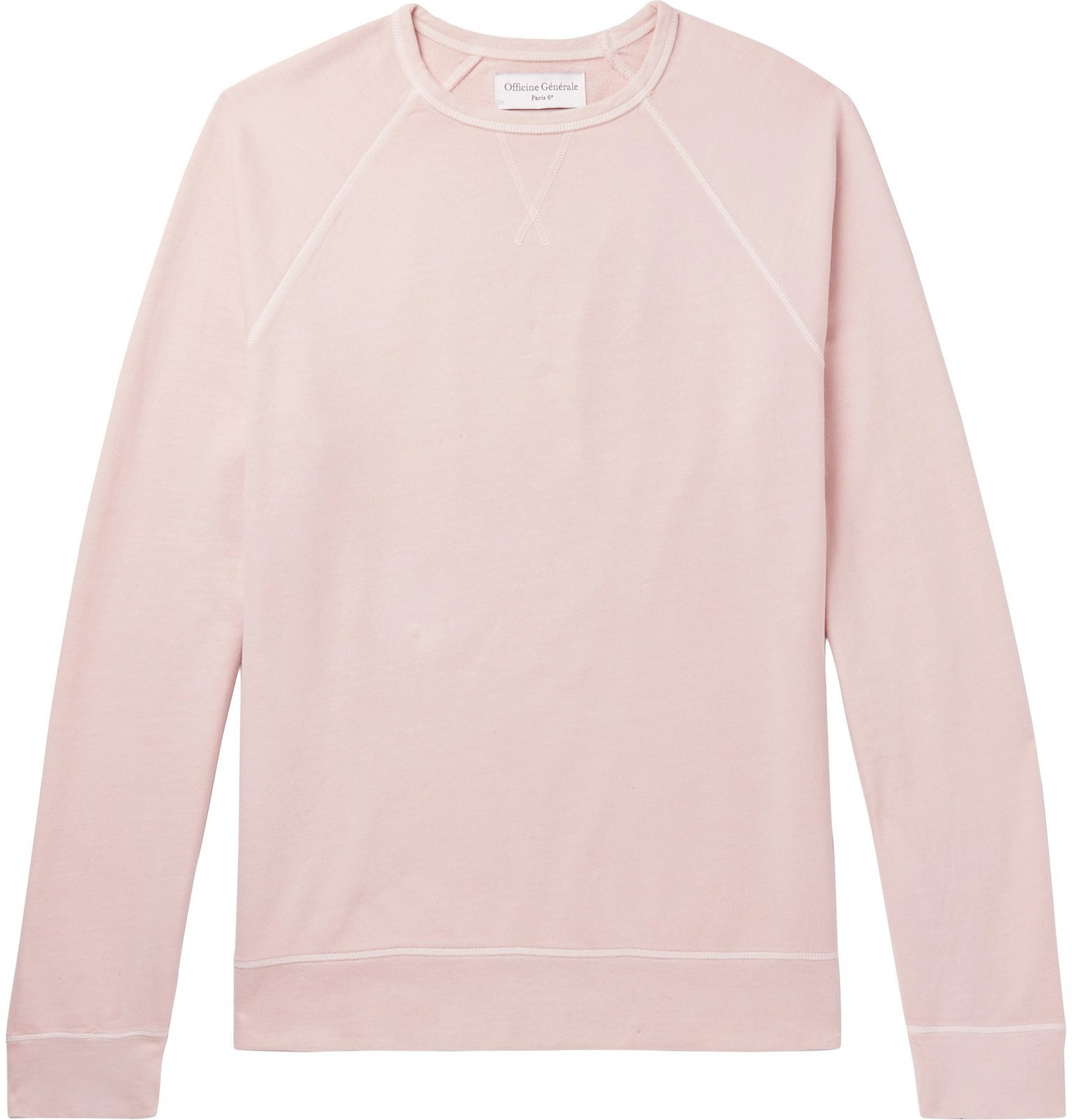 Photo: Officine Generale - Clement Pigment-Dyed Loopback Cotton-Jersey Sweatshirt - Pink