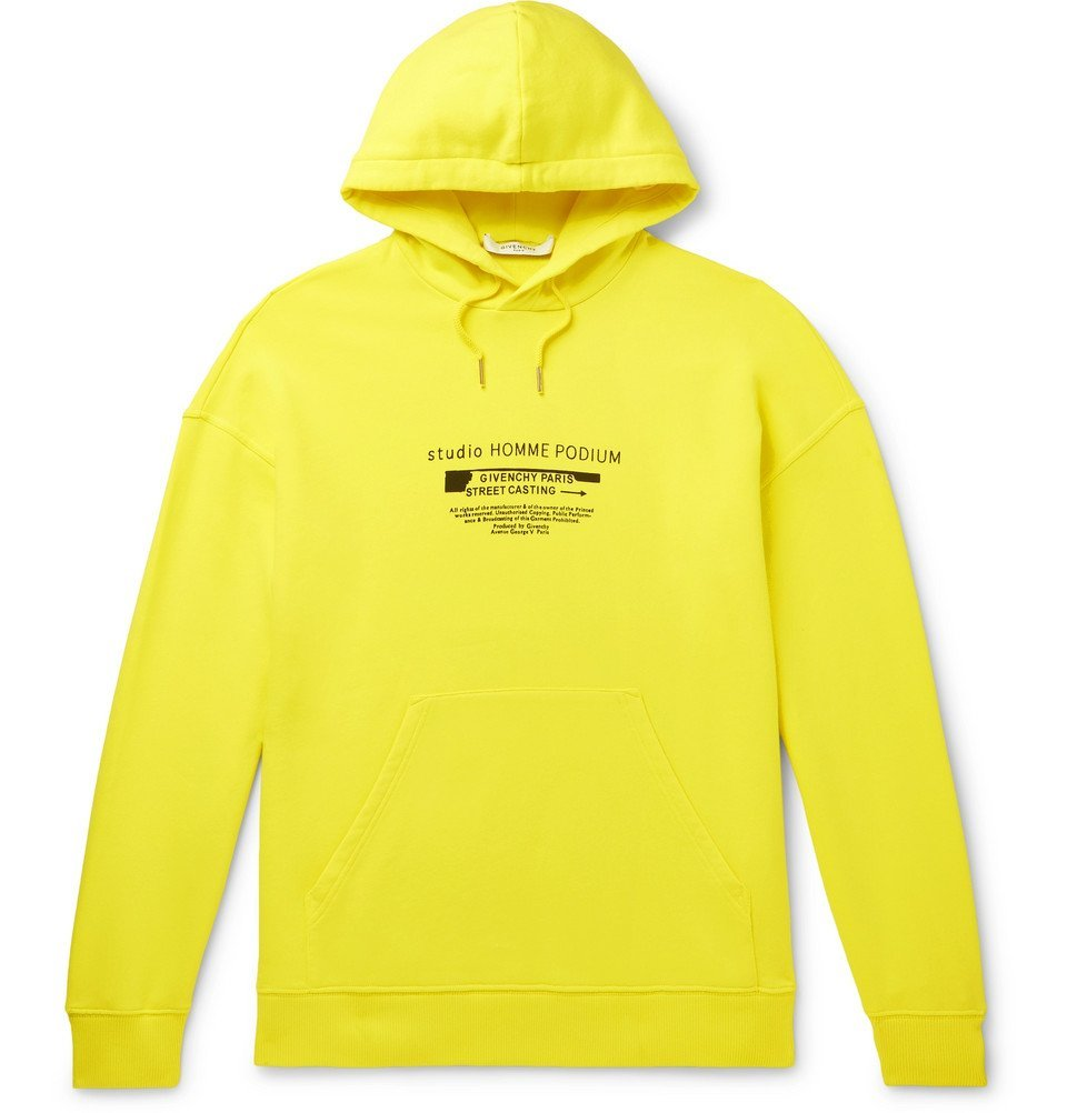 Photo: Givenchy - Printed Loopback Cotton-Jersey Hoodie - Bright yellow