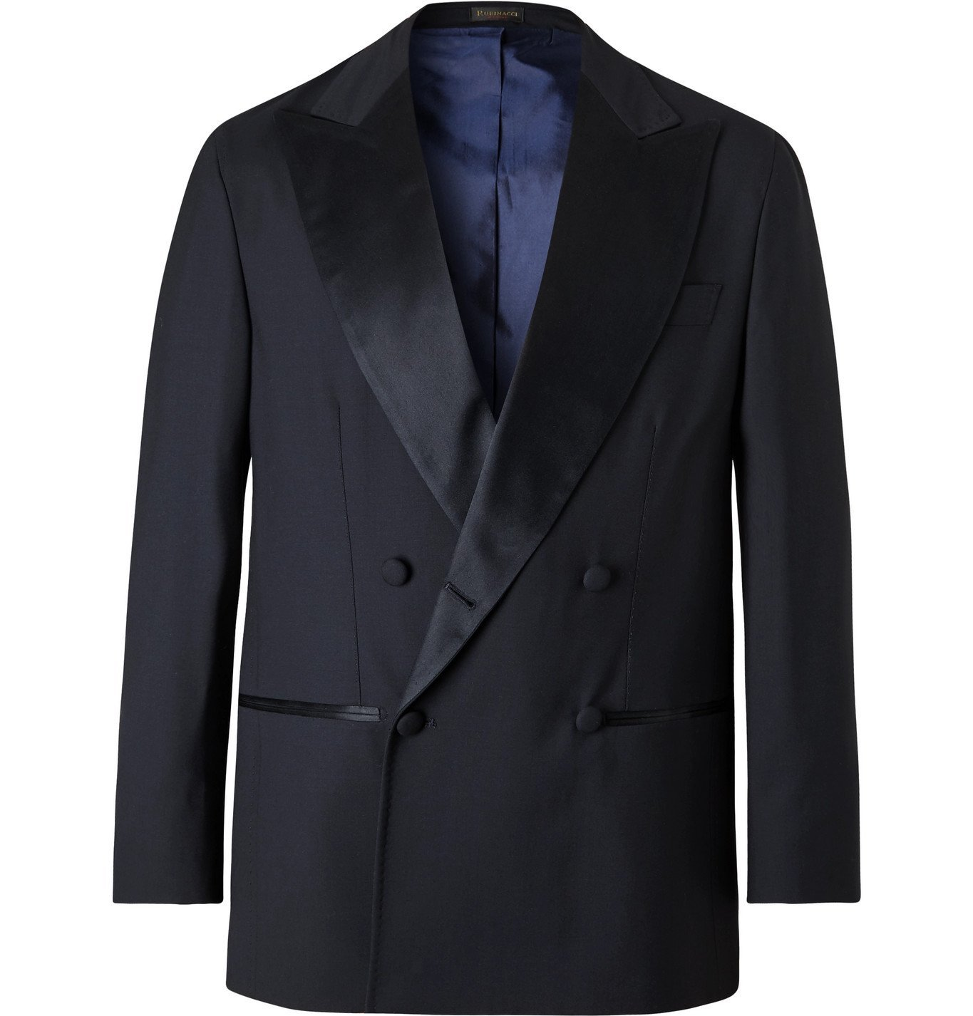Photo: Rubinacci - Double-Breasted Satin-Trimmed Virgin Wool Tuxedo Jacket - Blue