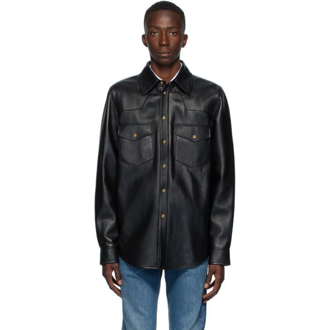 Photo: Gucci Black Leather Logo Shirt Jacket