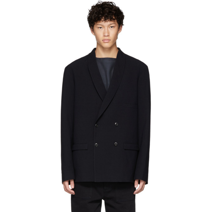 Photo: Lemaire Blue Wool Double-Breasted Blazer