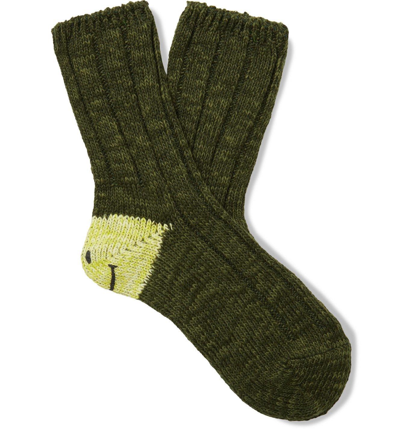 KAPITAL - Smilie Cotton-Blend Socks - Green