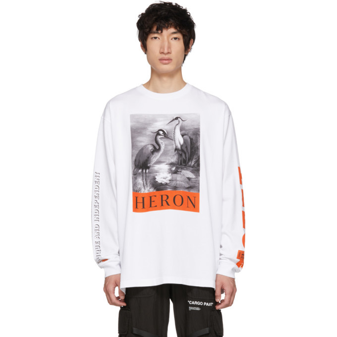 Photo: Heron Preston White Long Sleeve Heron T-Shirt