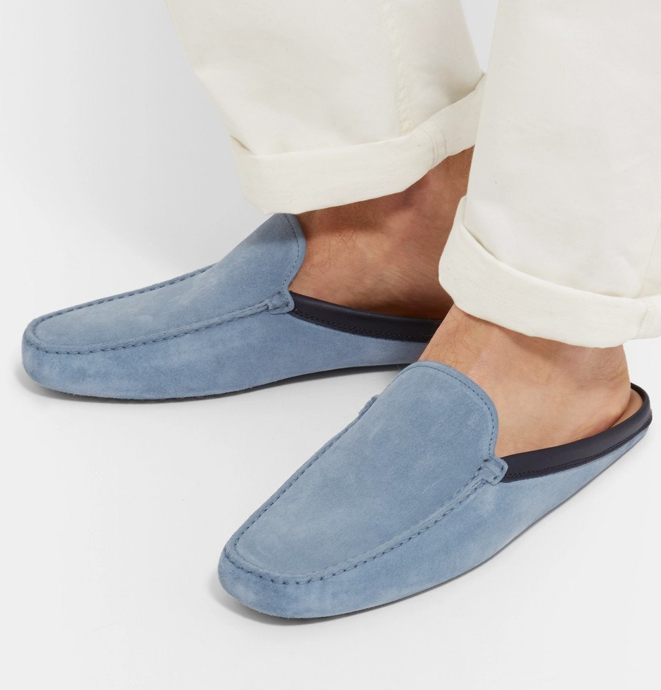 Tod's - Leather-Trimmed Suede Backless Loafers - Men - Light blue