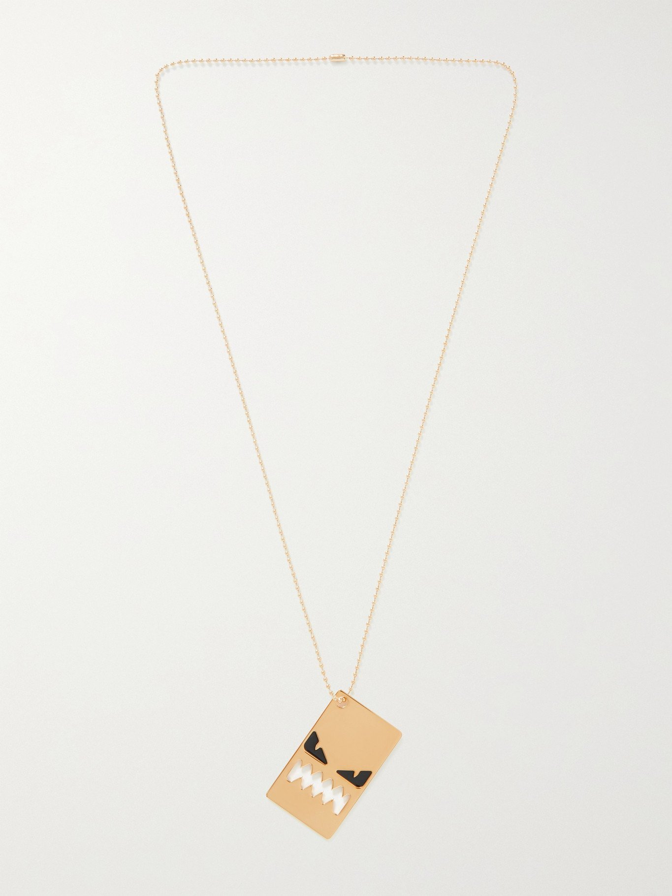 Photo: FENDI - Gold-Tone and Enamel Pendant Necklace - Gold