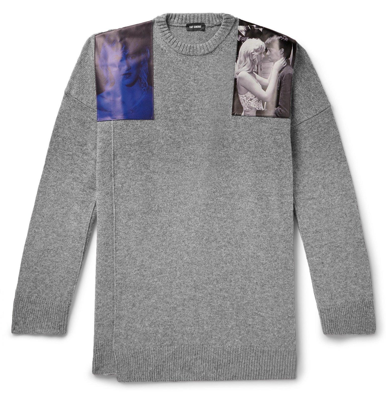 Photo: Raf Simons - Oversized Embellished Mélange Virgin Wool Sweater - Gray
