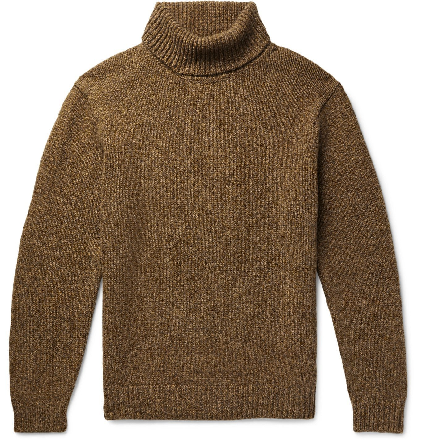 Photo: Beams Plus - Melangé Wool and Cashmere-Blend Rollneck Sweater - Brown