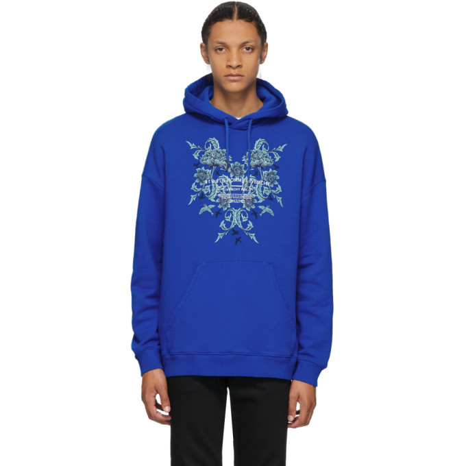 Photo: Givenchy Blue Floral Logo Studio Homme Hoodie