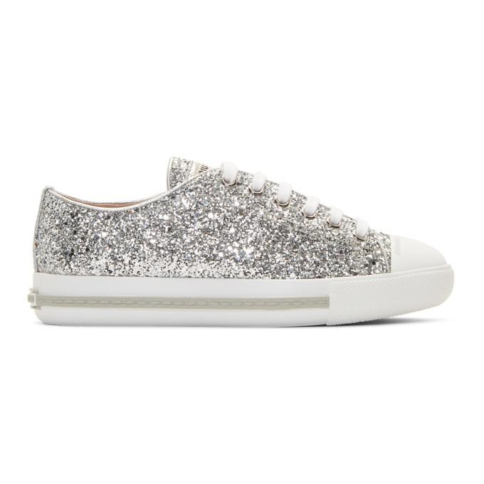 Miu Miu Silver Glitter Sneakers Miu Miu
