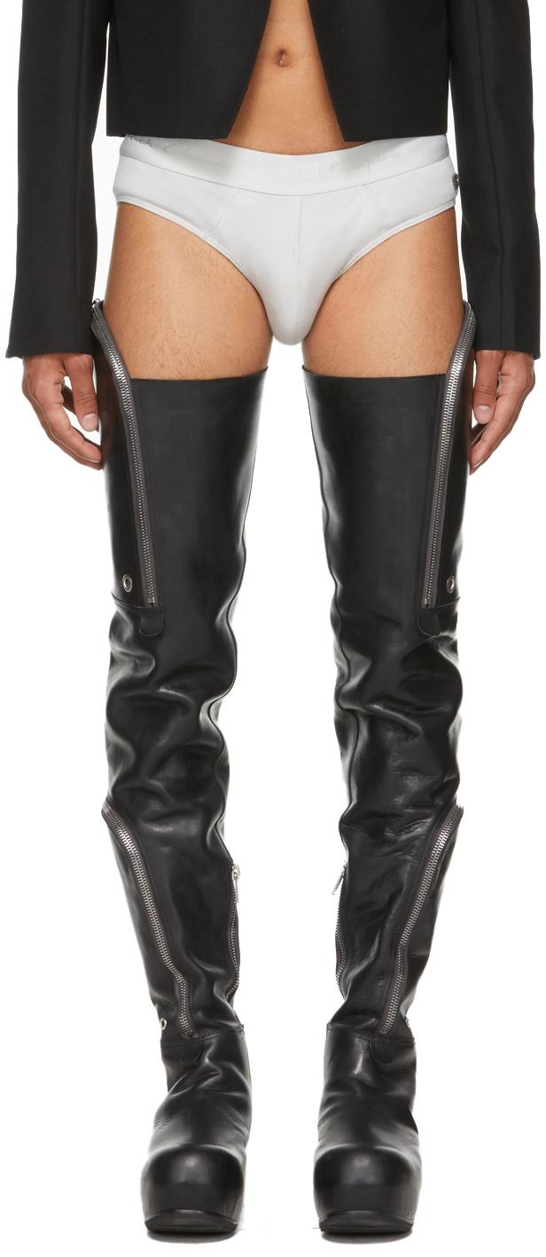 Photo: Rick Owens Black Bauhaus Ballast Thigh-High Boots