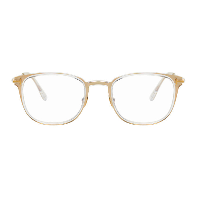 Photo: Tom Ford Gold Blue Block Soft Square Glasses