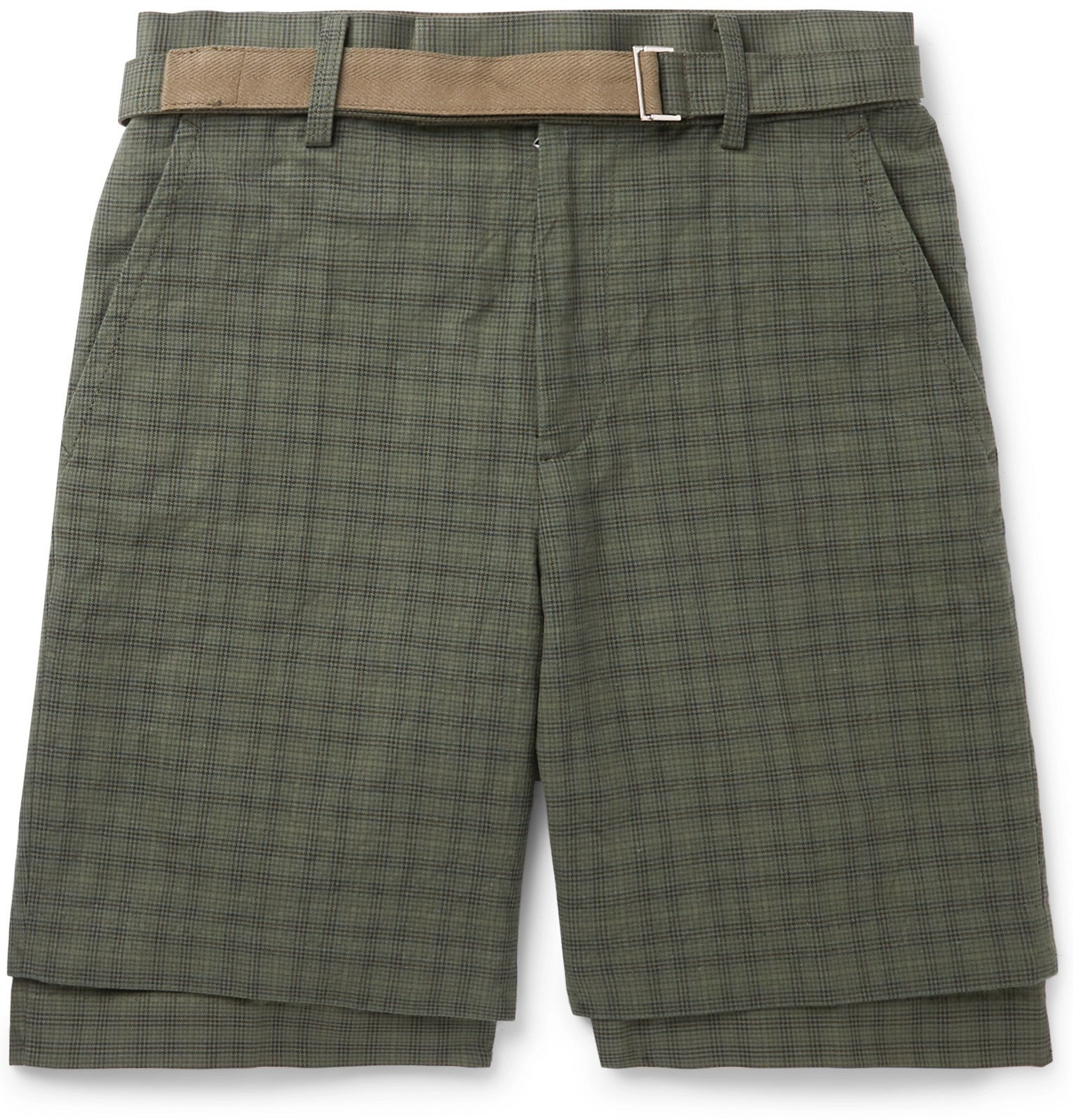 Sacai - Belted Checked Cotton Shorts - Brown