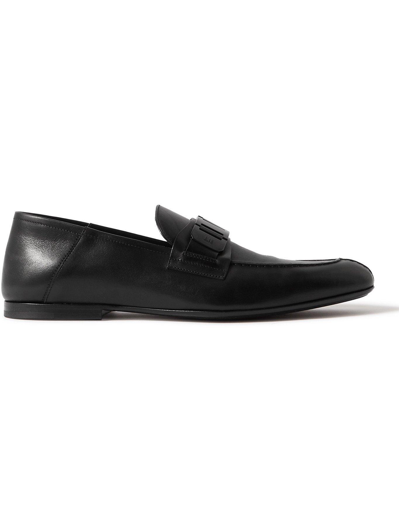 DUNHILL - Link Chain-Embellished Brushed-Leather Loafers - Black