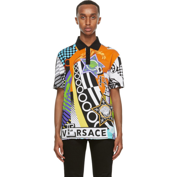 Photo: Versace Multicolor Collage Print Taylor-Fit Polo