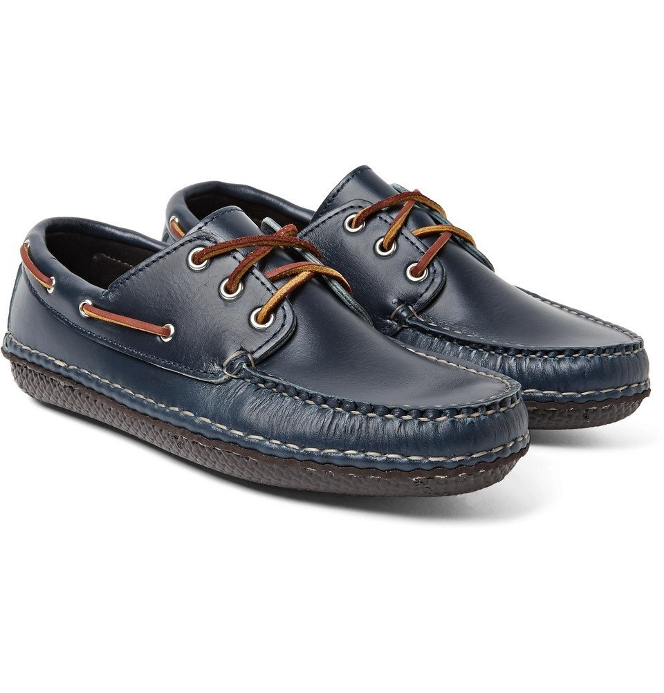 Photo: Quoddy - Boat Moc II Leather Boat Shoes - Storm blue